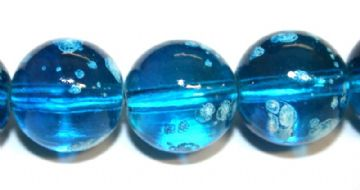 35pieces x 12mm Blue colour round shape bubble gum glass beads / speckled glass beads -- 3005126